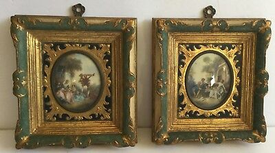 Pair of Miniature Paintings Ornate Frames Hand-Painted Celluloid 18thc Scenes