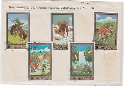 (V4-63) 1972 Mongolia old stamp pack 5stamps painting (BI)