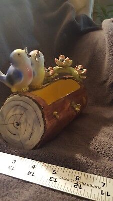 Vintage Italy Ceramic ~ BLUE  BIRDS ~ Two on Branch Planter