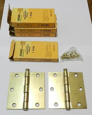 "4 pairs Brass 3 1/2"" X 3 1/2"" Butt Hinges New Old Stock w/ Screws Door"