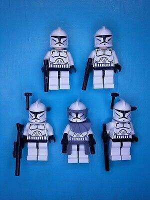 Lego Star Wars Lot of 5 Minifigures Clone Troopers w/Antenna and Commander 8014!