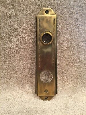 Antique Vintage Brass/Bronze Art Deco Door Knob Back Plate - No Keyhole