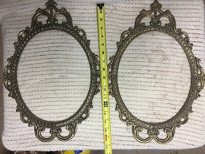 (2) vintage metal(brass?)oval picture frame 17""