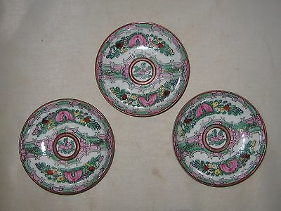 """Rose Medallion By Andrea Lot Of Three Small Dishes 3 7/8"""" Wide Condiment Bowls"""