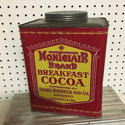 Antique Montclair Breakfast Cocoa 5 LB Pound Tin Can SEARS ROEBUCK Vintage