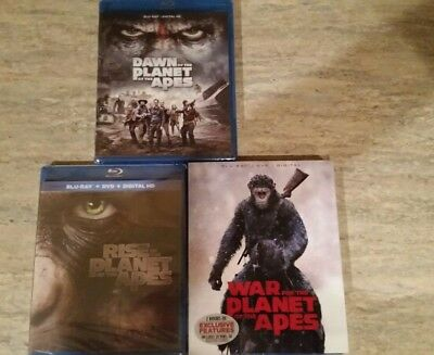 Planet of the Apes Trilogy Blu-Ray - Rise, Dawn, and War
