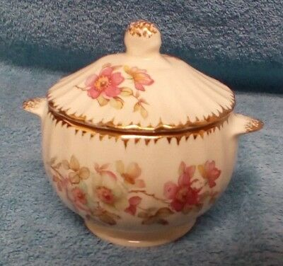 Vintage American Limoges Wild Rose Warranted 22K Gold Sugar Bowl With Lid