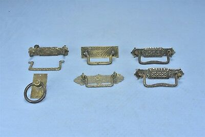 Antique MIXED LOT of 6 BRASS DRAWER HANDLE PULLS HARDWARE STEAMPUNK #04753