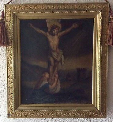 Antique Italian Oil Painting ca.17th C. Old Master Crucifixion of Christ Framed