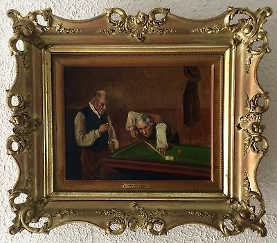 Antique ca.18th C. Dutch Oil Painting Old Master Style Men Playing Snooker OBO
