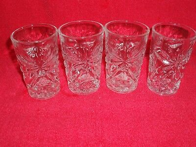 "4 EUC Anchor Hocking EAPC Juice Glasses 3-1/2"" Prescut Clear Glass Star of David"