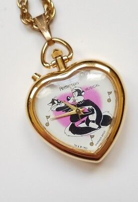 Vintage Armitron Looney Tunes Pepe le Pew Musical Pocket Watch Heart