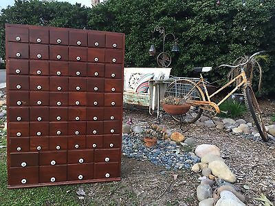 RARE Antique Primitive Wood 56 Drawer Apothecary Cabinet With Porcelain Pulls
