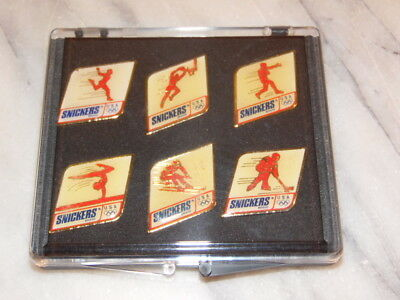 Set of 6 SNICKERS Olympic Pins wth Box - Mars 1991
