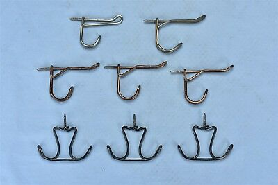 Antique MIXED LOT of 8 TWISTED METAL HAT & COAT RACK HOOKS HARDWARE PARTS #04748