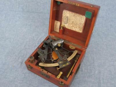 Complete Antique 1891 English Hezzanith Sextant Nautical Navigation Instrument
