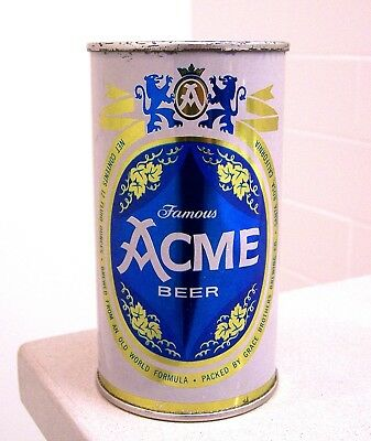 **sharp clean c. 1950s ACME Famous flat top beer can from Grace Bros/Maier CA
