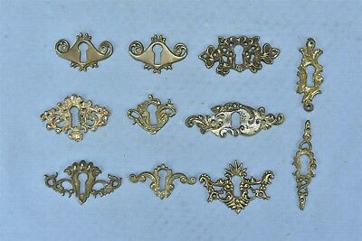 Antique MIXED LOT of 11 CAST BRASS KEY HOLE COVERS ESCUTCHEONS HARDWARE #04741