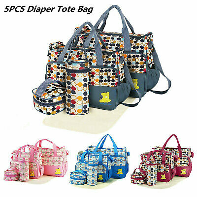 5pcs Mommy Mother Handbag Baby Changing Diaper Nappy Bag Multifunctional Set