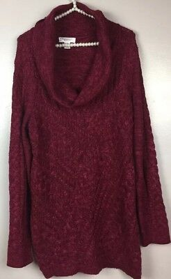 Motherhood Maternity Sweater XL Red Cowl Neck Cable Knit Tunic Sweater