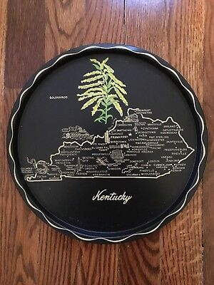 """Vintage Metal Kentucky State Collectors Plate/Tray w/Map  11"""""""