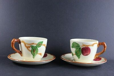 Vintage Franciscan Apple Pattern Tea / Coffee Cup And Saucer 2 Sets.