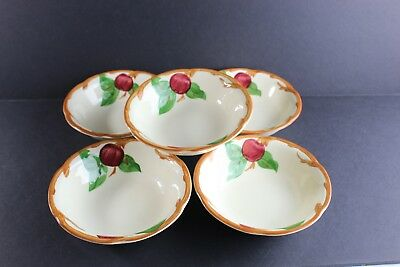 """Lot Of 5 Franciscan Apple Cereal Bowls Vintage 1949-1959 Made In The USA (6"""")"""