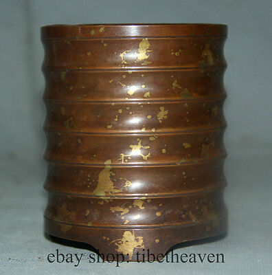 "4"" Old Chinese Dynasty Palace Bronze Copper Bamboo Style Brush Pot Pencil Vase"