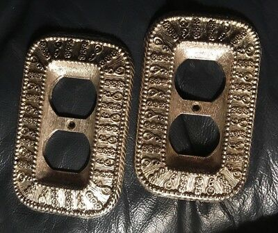 Vintage 1968 Pair Outlet Plates Covers Retro Silver Metal 50D Hollywood Regency