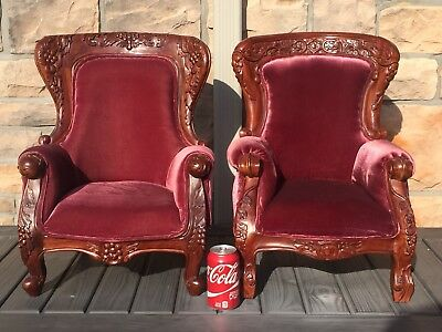 Vintage Pair Large Dolls or Child's Chairs Parlor Hand Carved Mahogany VERY RARE