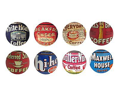 Vintage Coffee Can Kitchen Cabinet Drawer Knobs Pulls Set of 8