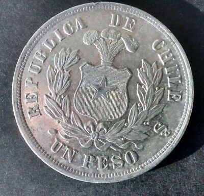1881 So Peso CHILE crown ,AU details ...!look!