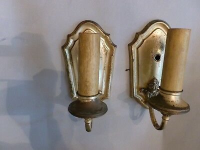 Pair of Silver Plated Antique Electric Wall Sconces Wired with Pull Chains