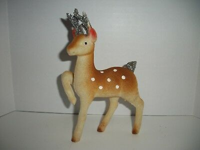 Vintage Brown White Spotted Celluloid Flocked Christmas Reindeer -silver antlers