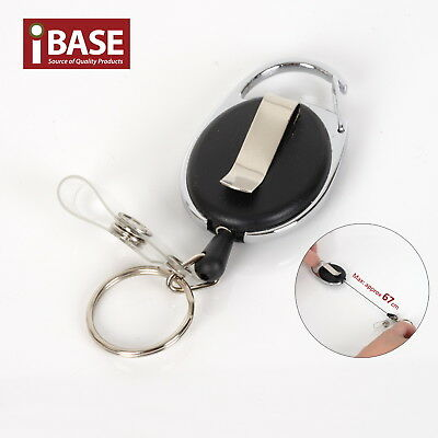 Recoil Key Ring Retractable Chain ID Pull Holder Reel Belt Clip Extend Keyring