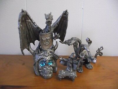 4pc Mythological Pewter Figurine Dragon Hydta Wizard Table Ral Partha Spoontique