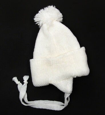 Vintage Infant Newborn Baby White Acrylic Knit Beanie Pom Hat 0-3 Months NWOT