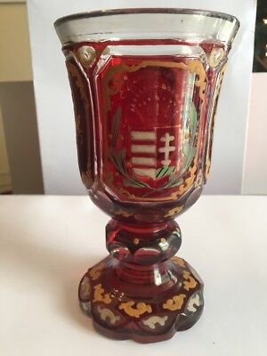 """Vict. Bohemian enameled ruby flashed cut overlay art glass 6.5""""spa glass chalice"""