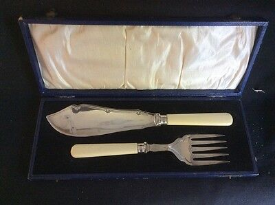 19th C.English fish serving set in white silk fitted presentation case