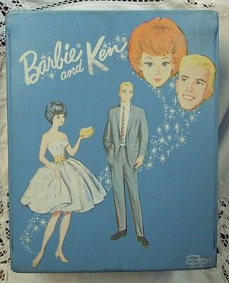 24.99Vtg 1963 Mattel ~ Mod Midge BARBIE AND KEN Doll Case ~ BLUE