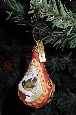 G. DeBrekht Hand-painted BIRD ON ROOFTOP Christmas Ornament