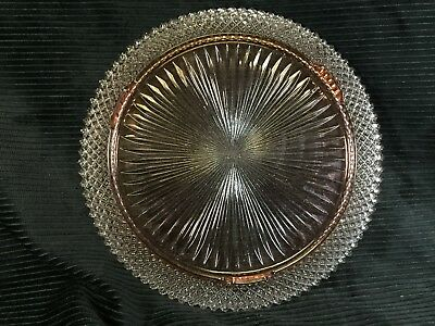 """Miss America Pink Cake Plate 12"""" Footed Depression Glass Anchor Hocking"""