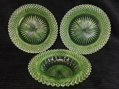 Miss America Green Cereal Bowl And 2 Bread Plates Depression Glass Hocking