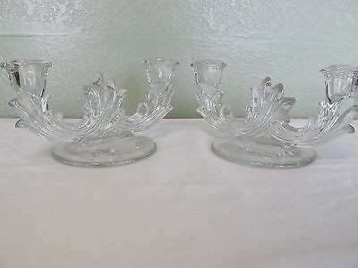 """Fostoria  """"meadow Rose"""" Etched Crystal Double Candlestick Holders"""