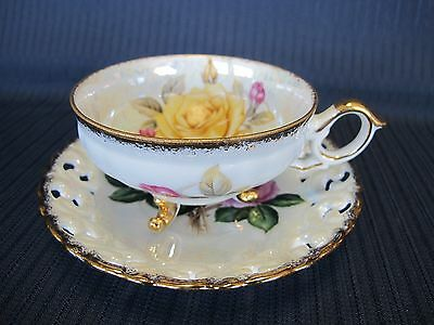 CHERRY CHINA  YELLOW AND PINK ROSES FINE BONE CHINA TEACUP AND SAUCER-Japan