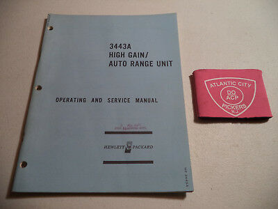 Hewlett Packard Model 3443A High Gain Auto Range Unit Operating & Service Manual