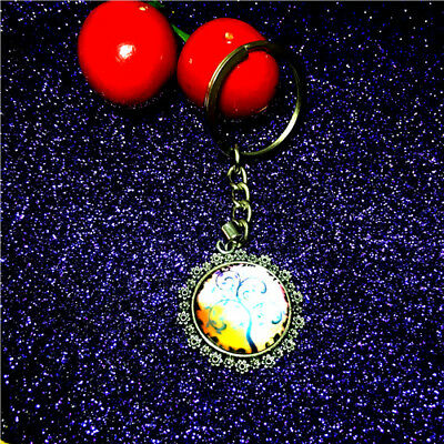 NEW Details Of The Lovely Nature Jewel Glass Dome Male Female Key Ring 1