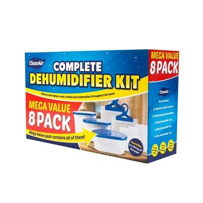 8 Pack Dehumidifier Kit Clean Air Moisture Absorber Home Mould Condensation Damp