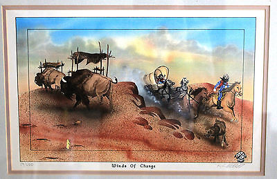 Vintage Native American Mixed Media Painting Cherokee Indian Ron Mitchell