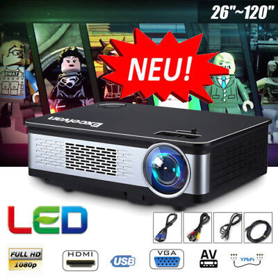 6000Lumens HD 1080P LED Heimkino Beamer Projektor for Iphone Android Tablet PC